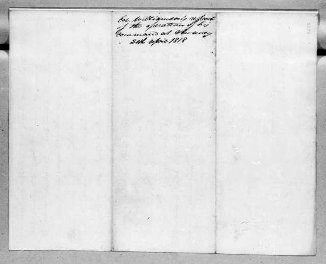 Thomas Williamson to Andrew Jackson, April 20, 1818