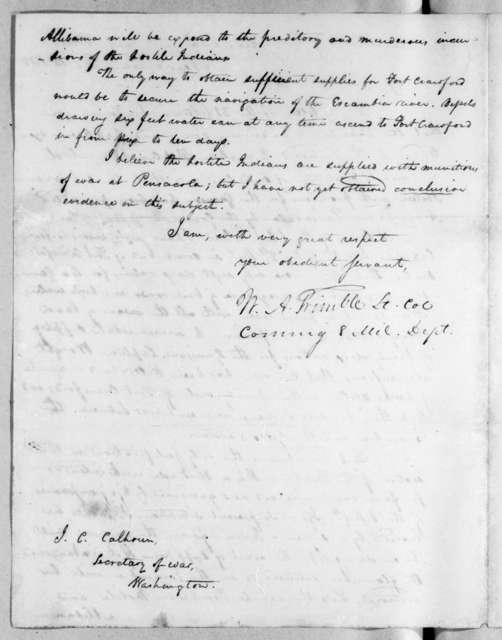 William Allen Trimble to John Caldwell Calhoun, February 12, 1818