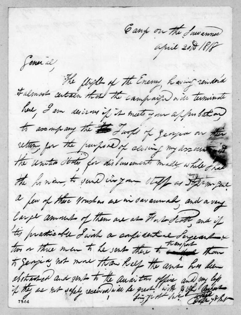 William Bee, Jr. to Edmund Pendleton Gaines, April 20, 1818