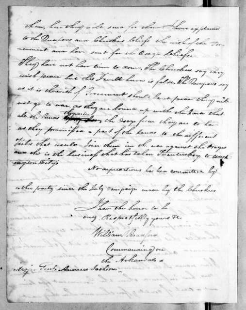 William Bradford to Andrew Jackson, January 1, 1818