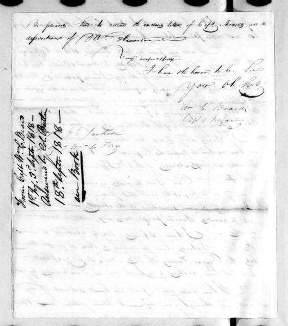 William C. Beard to Andrew Jackson, September 3, 1818