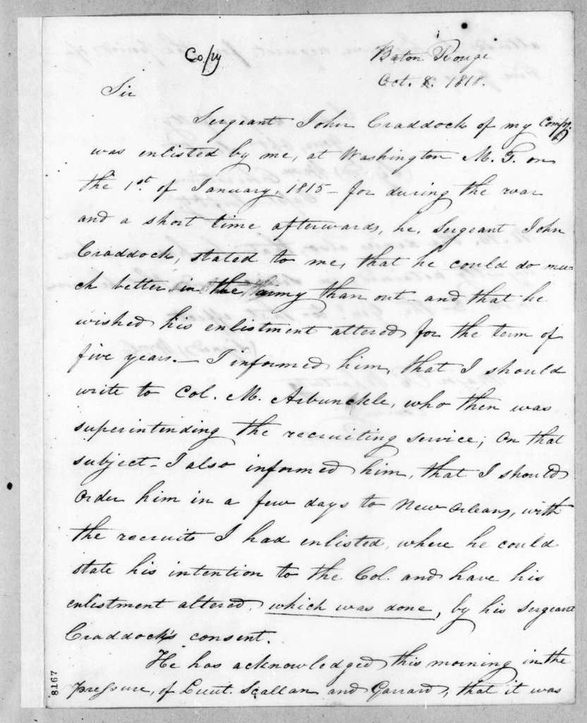 William Christian to Richard Whartenby, October 8, 1818