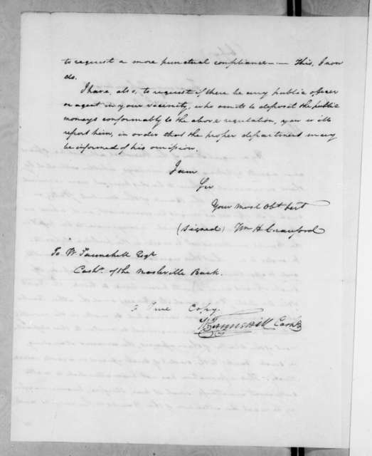 William Harris Crawford to Wilkins Tannehill, December 8, 1818