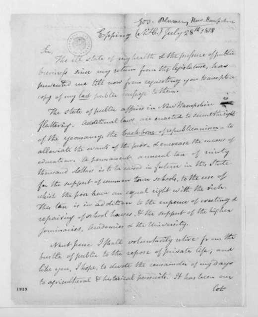 William Plumer to James Madison, July 28, 1818.