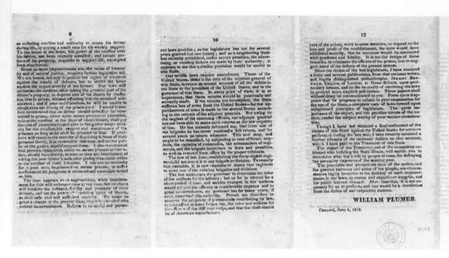 """William Plumer to New Hampshire Legislature, June 4, 1818. Pamphlet - """"Message from His Excellency the Governor of New Hampshire, To the Legislature""""."""