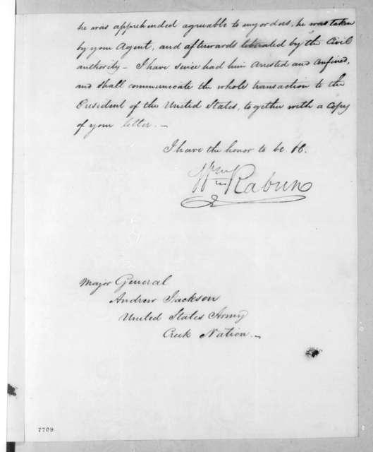 William Rabin to Andrew Jackson, June 1, 1818
