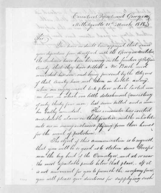 William Rabin to Andrew Jackson, March 21, 1818