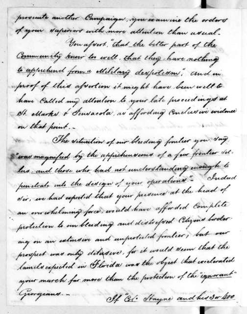 William Rabun to Andrew Jackson, September 1, 1818
