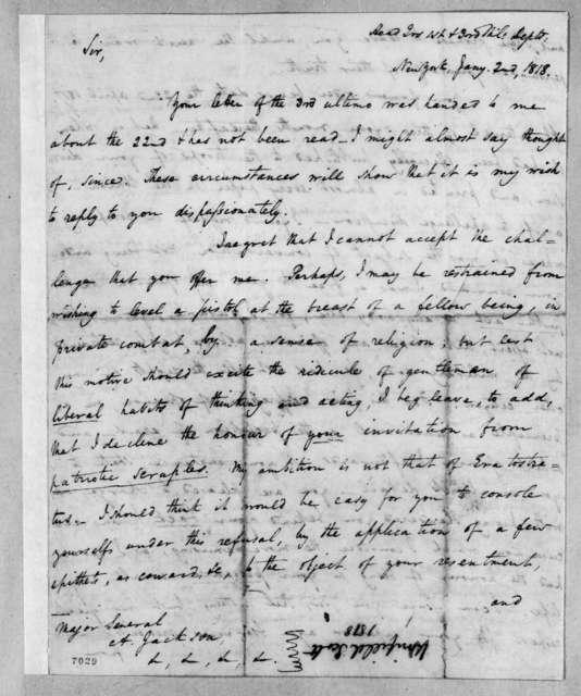 Winfield Scott to Andrew Jackson, January 2, 1818