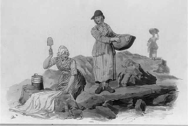 [2 Welsh peasant women washing clothes by a stream]