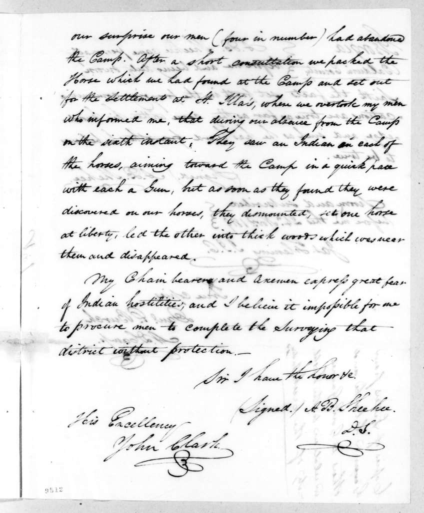 A. B. Sheehee to John Clark, November 24, 1819