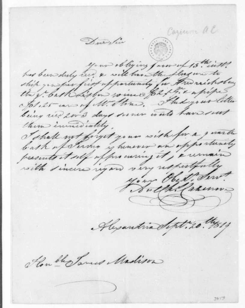 A. C. Cazenove to James Madison, September 20, 1819.