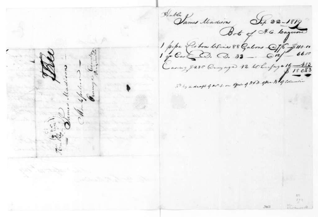 A. C. Cazenove to James Madison, September 23, 1819. With Account.