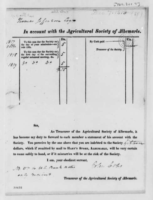 Albemarle County, Virginia, Agricultural Society to Thomas Jefferson, December 7, 1819, Statement of Account