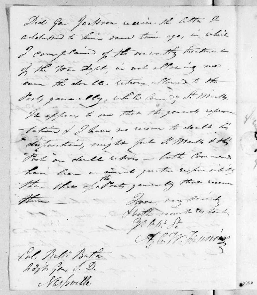 Alexander Campbell Wilder Fanning to Robert Butler, July 7, 1819