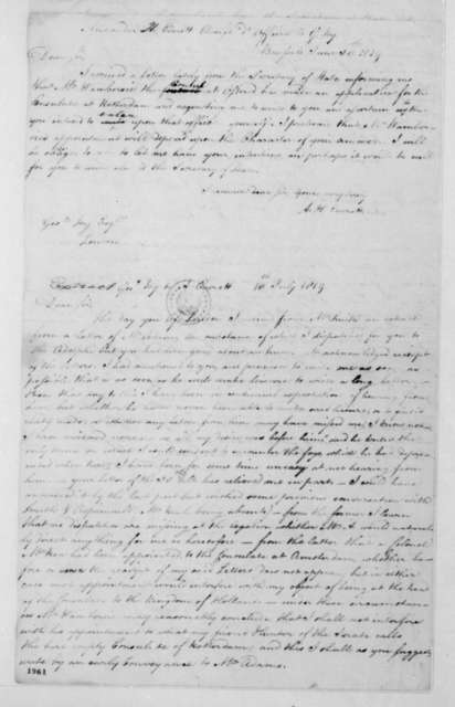 Alexander H. Everett to George Joy, June 30, 1819. Includes extract from George Joy to Alexander Everett dated July 13, 1819 and extract from George Joy to John Q. Adams dated July 16, 1819. With copy.