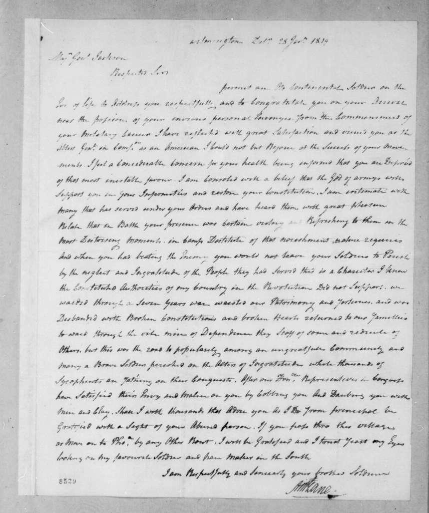 Allen McLane to Andrew Jackson, January 28, 1819