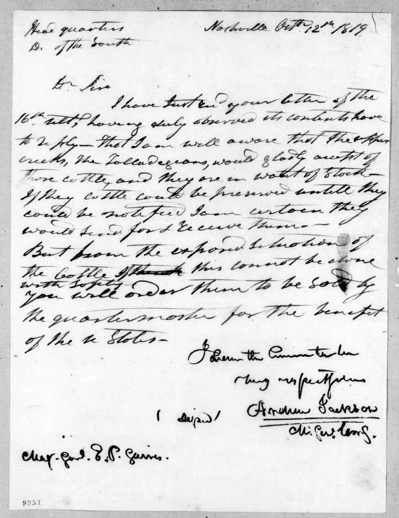 Andrew Jackson to Edmund Pendleton Gaines, October 12, 1819