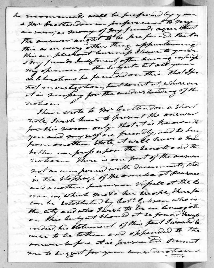 Andrew Jackson to John Henry Eaton, November 29, 1819