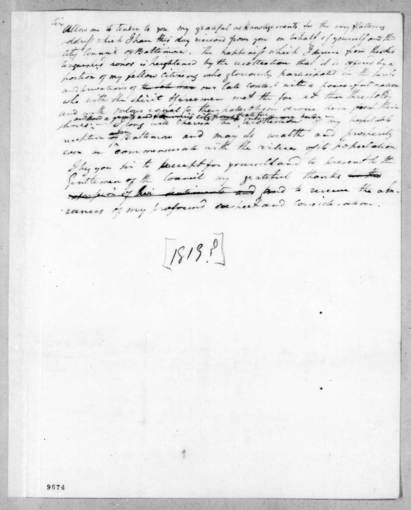 Andrew Jackson to Unknown, February 27, 1819