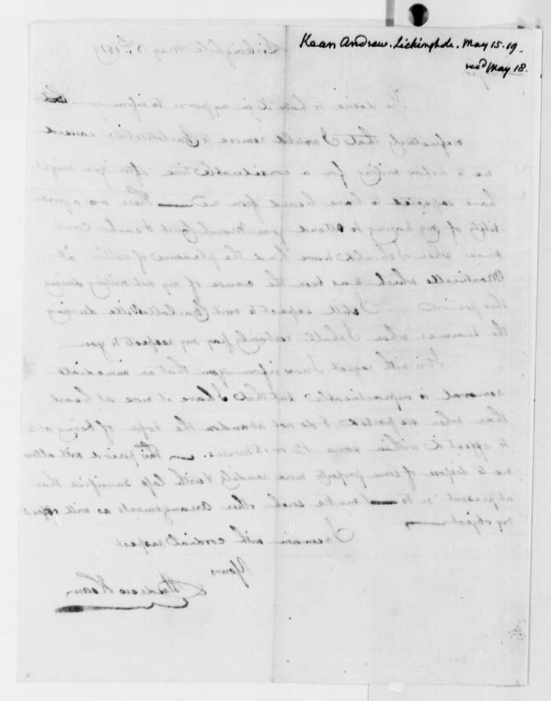 Andrew Kean to Thomas Jefferson, May 15, 1819