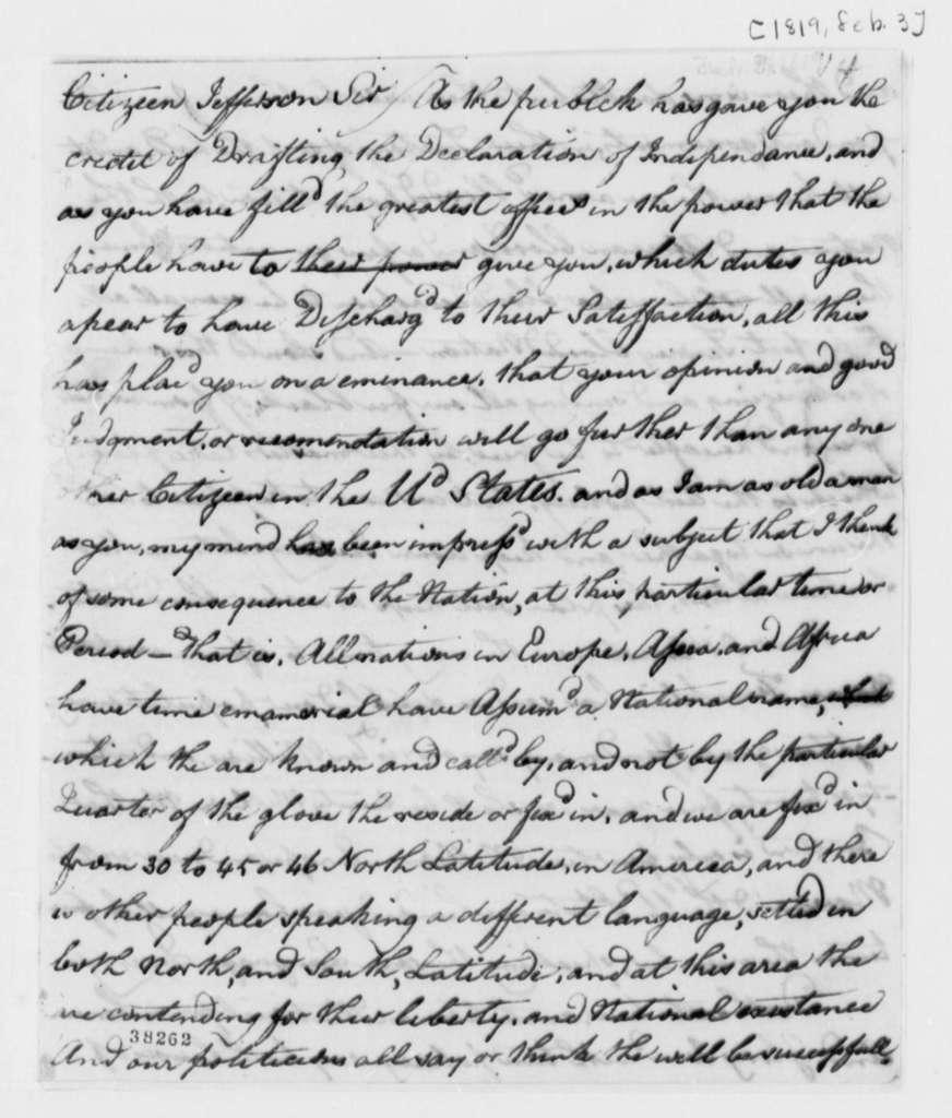 Anonymous to Thomas Jefferson, February 3, 1819, Signed Zed