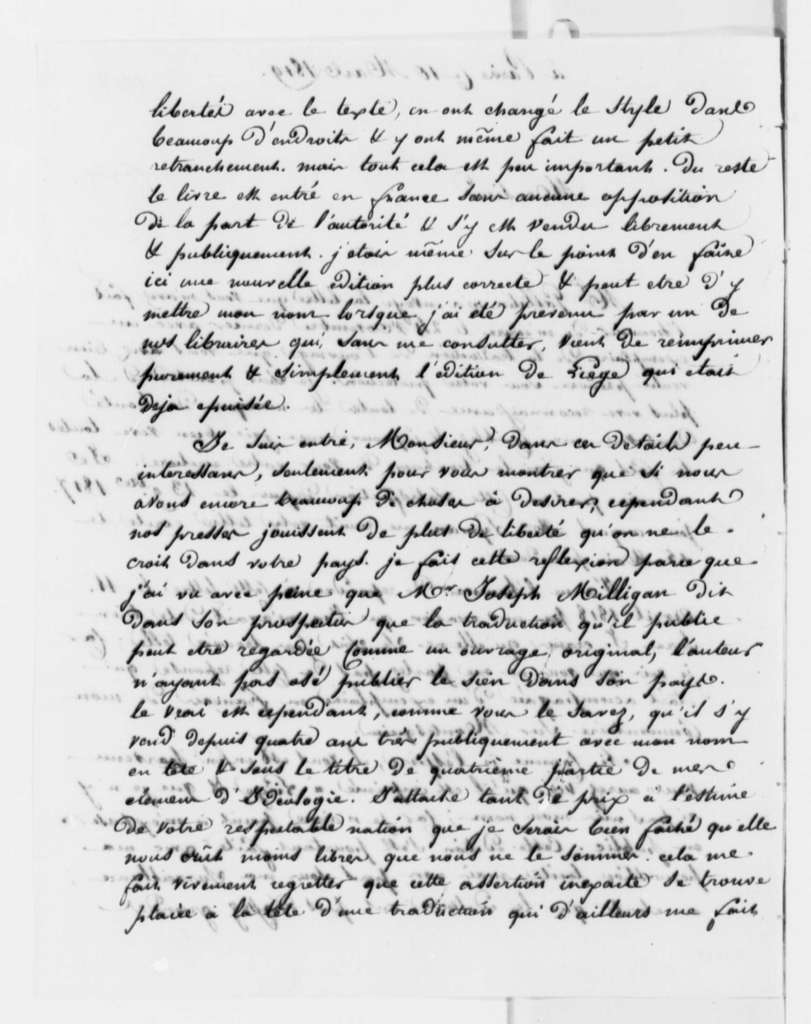 Antoine Louis Claude Destutt de Tracy to Thomas Jefferson, March 10, 1819, in French