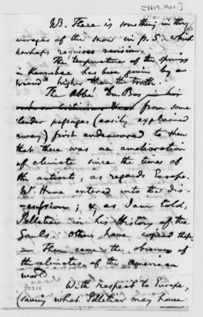 Benjamin Vaughan, March 1819, Notes on Climatology