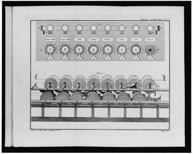 [Calculating machine designed by Pascal] / Louvet sculpt. Rue Galande No. 51.