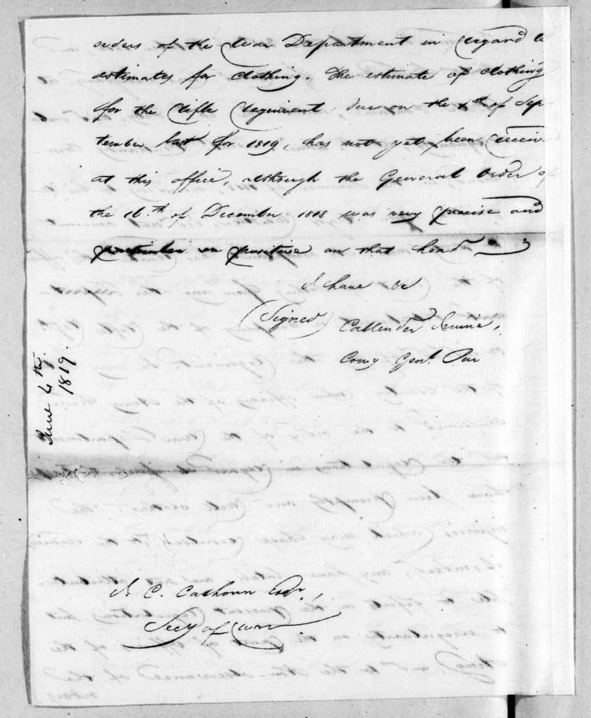 Callender Irvine to John Caldwell Calhoun, June 4, 1819