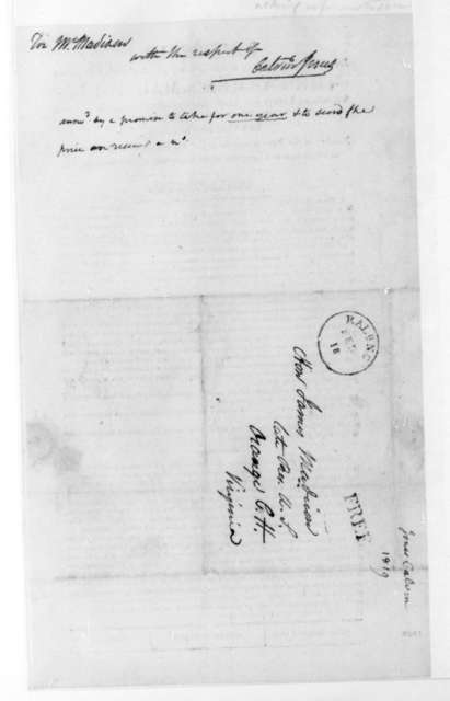 Calvin Jones to James Madison, February 18, 1819. With Broadside.