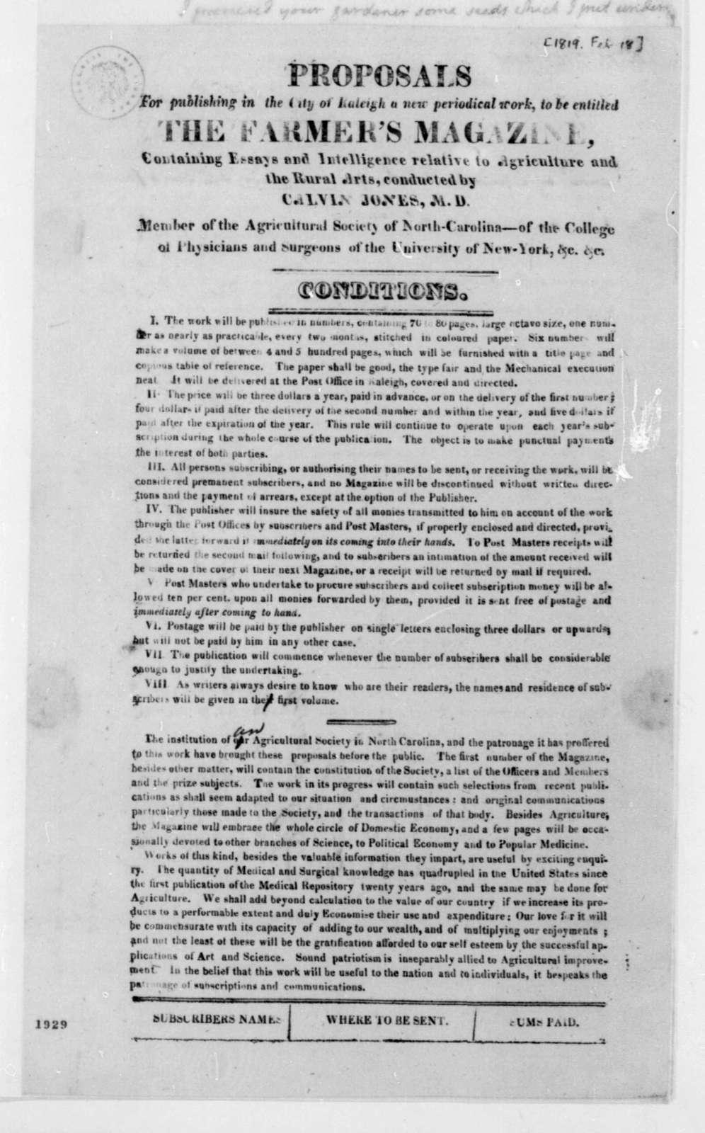 Calvin Jones to James Madison, February 18, 1819. With Broadside.