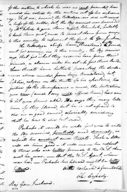 Charles Cassedy to Andrew Jackson, December 27, 1819