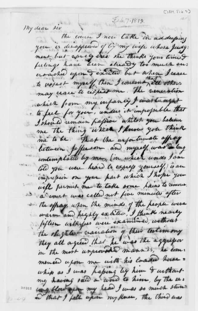 Charles L. Bankhead to Thomas Jefferson, February 7, 1819