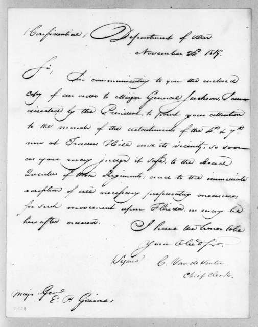 Christopher Vandeventer to Edmund Pendleton Gaines, November 22, 1819