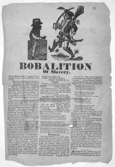 [Cuts] Bobalition of slavery. [Boston 1819].