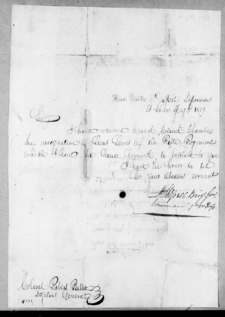 Daniel Bissell to Robert Butler, May 3, 1819