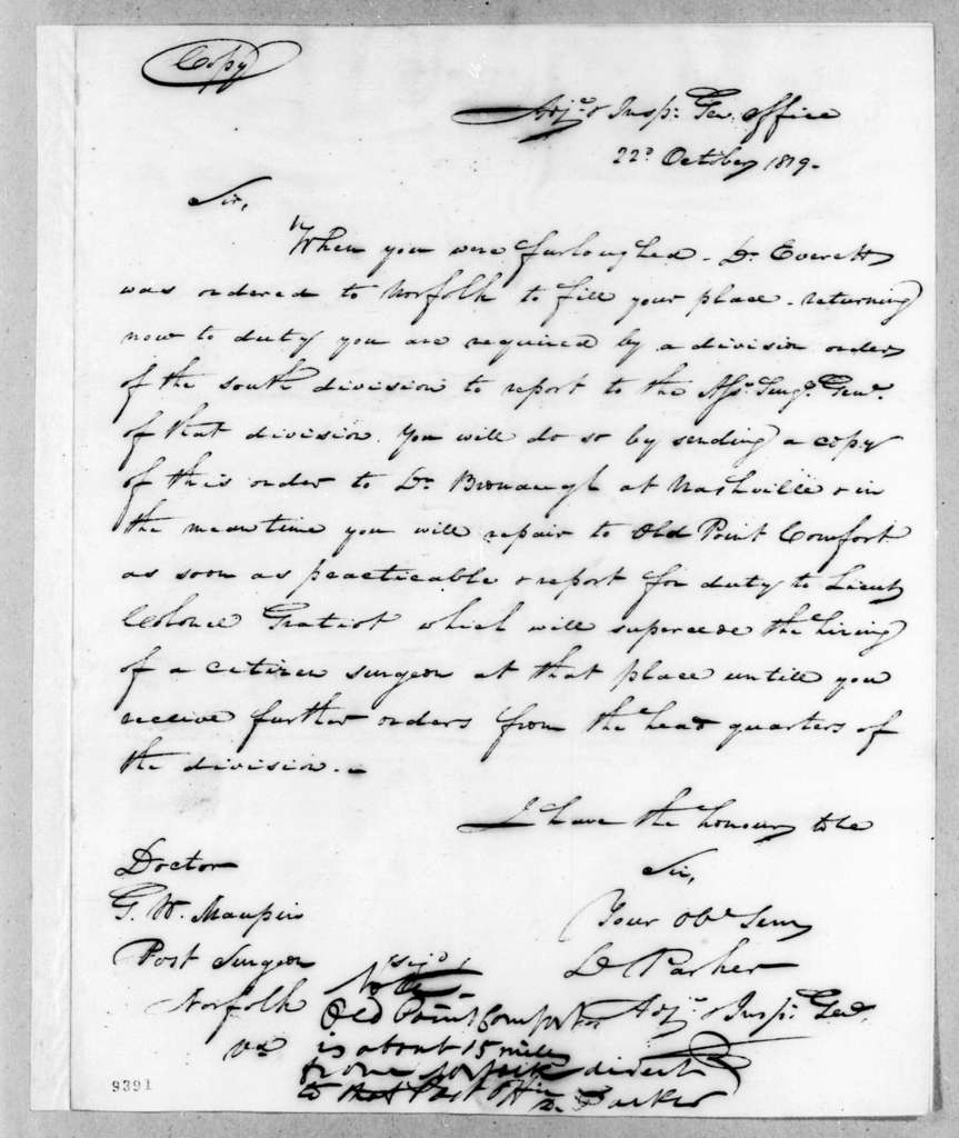Daniel Parker to G. W. Maupin, October 22, 1819
