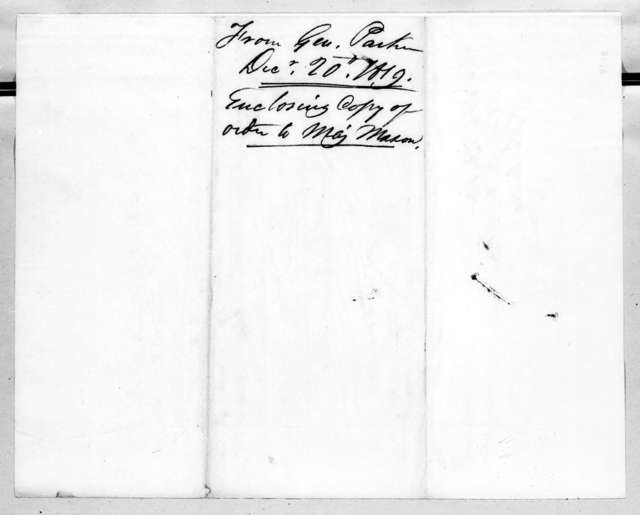 Daniel Parker to Robert Butler, December 20, 1819