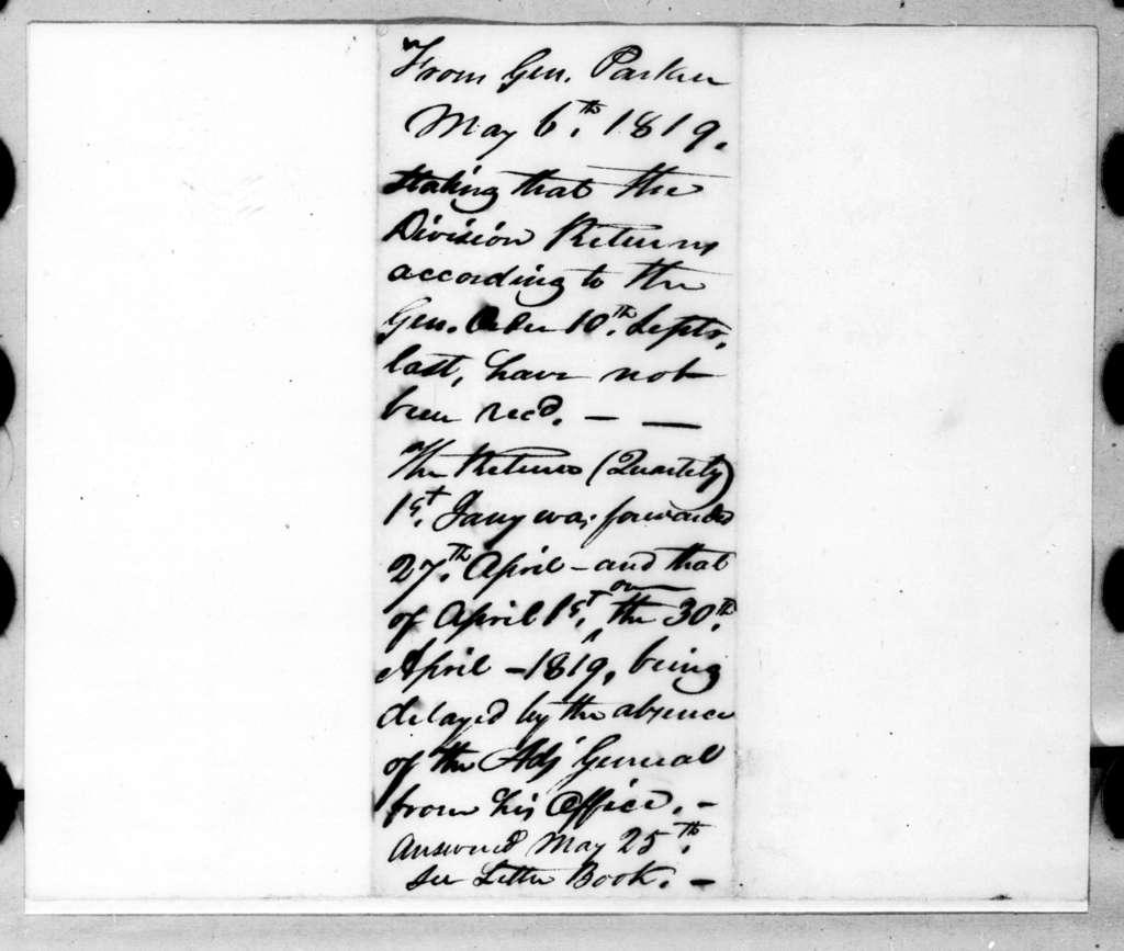 Daniel Parker to Robert Butler, May 6, 1819