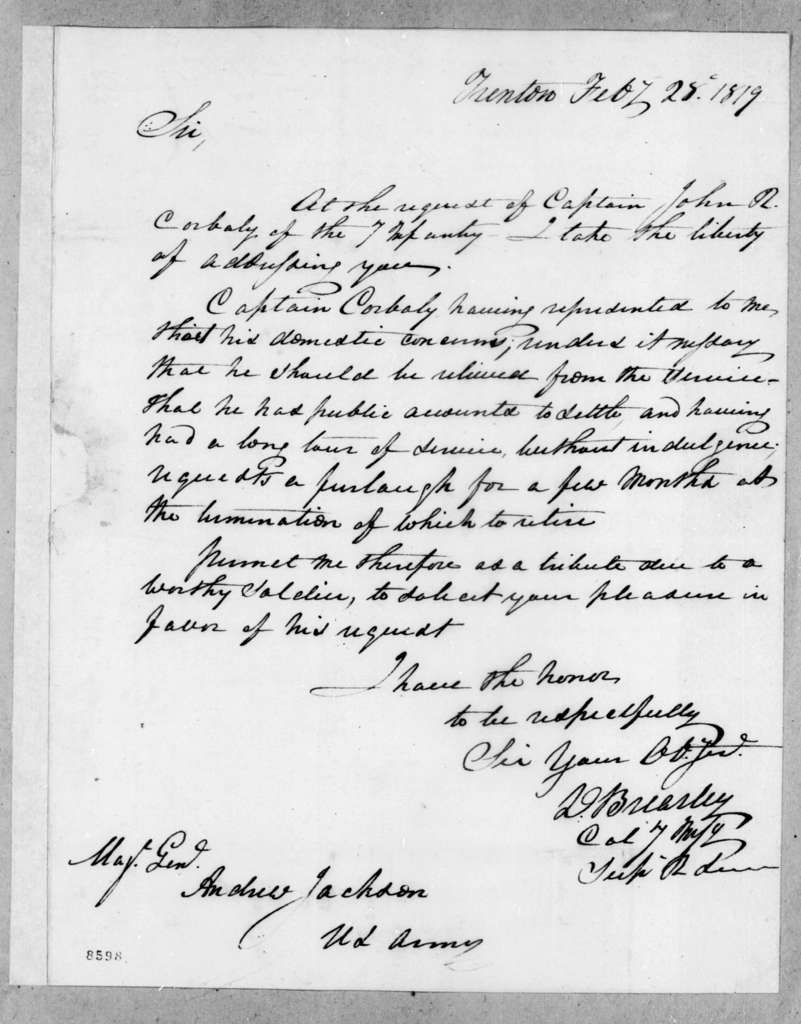 David Brearley to Andrew Jackson, February 28, 1819