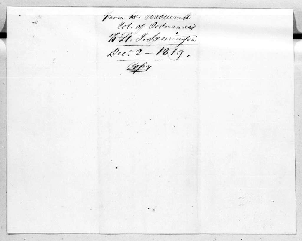 Decius Wadsworth to John Symington, December 2, 1819