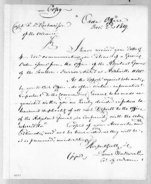 Decius Wadsworth to Robert D. Richardson, December 2, 1819
