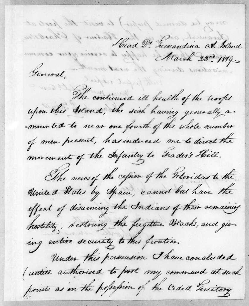 Edmund Pendleton Gaines to Andrew Jackson, March 23, 1819
