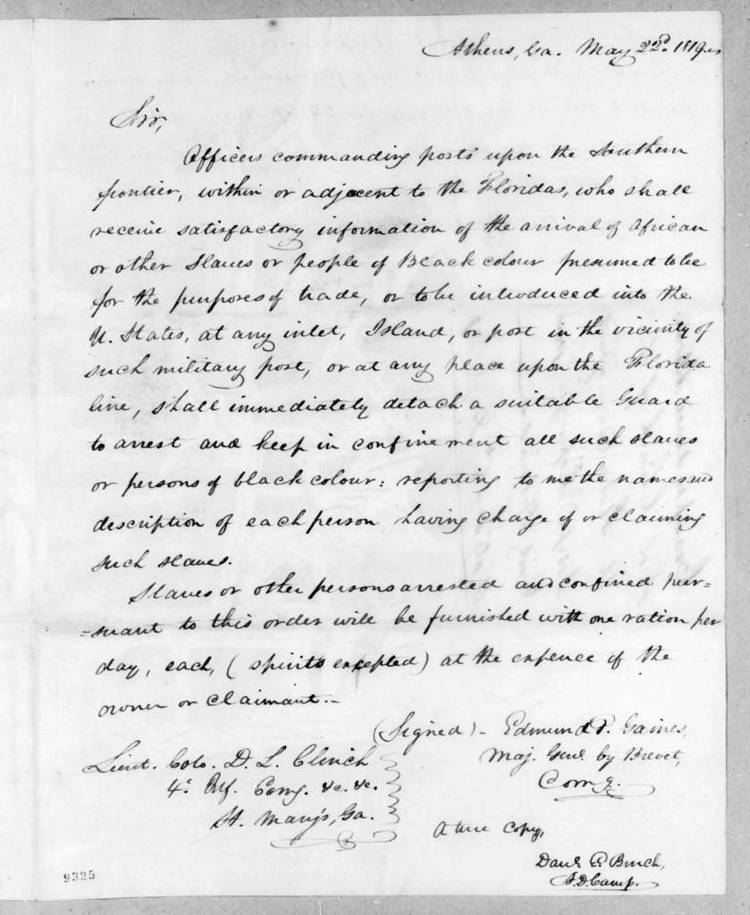 Edmund Pendleton Gaines to Duncan Lamont Clinch, May 22, 1819