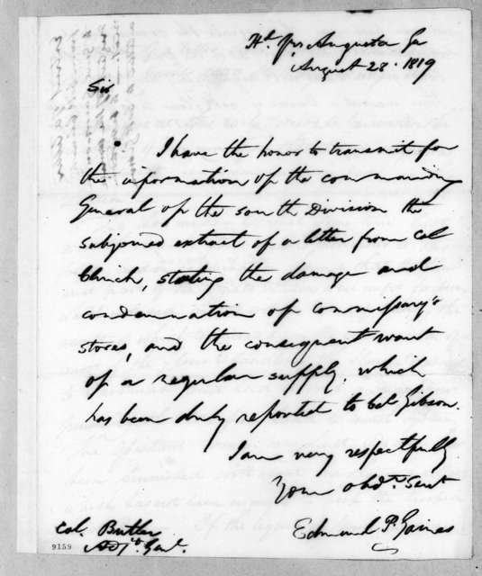 Edmund Pendleton Gaines to Robert Butler, August 28, 1819