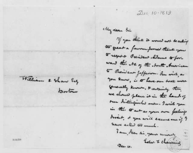 Edward T. Channing to William S. Shaw, December 10, 1819