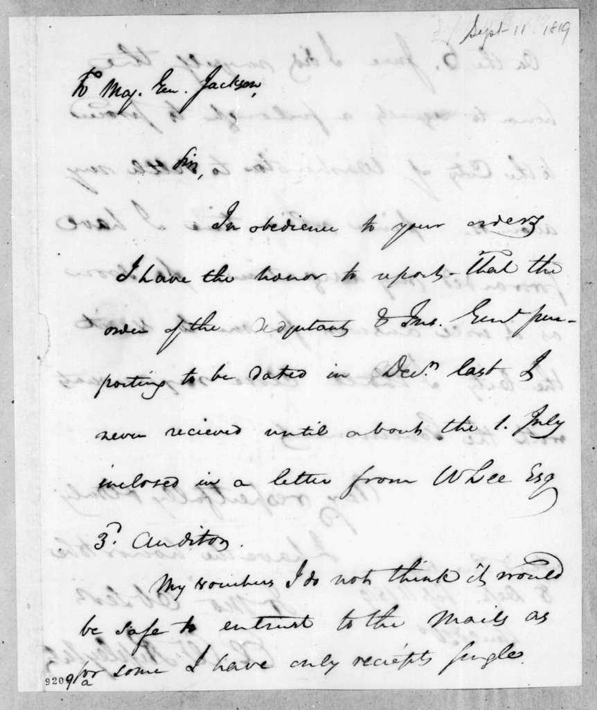 Eleazar Wheelock Ripley to Andrew Jackson, September 11, 1819