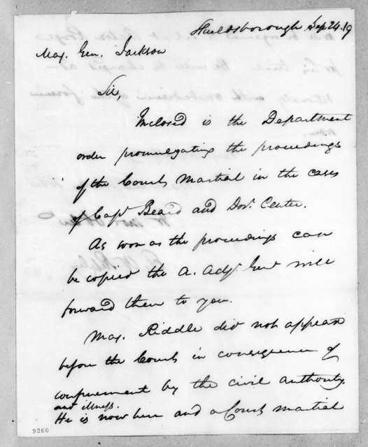 Eleazar Wheelock Ripley to Andrew Jackson, September 24, 1819