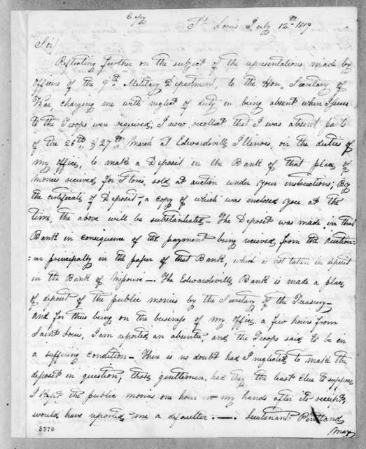 Eli B. Clemson to Callender Irvine, July 12, 1819